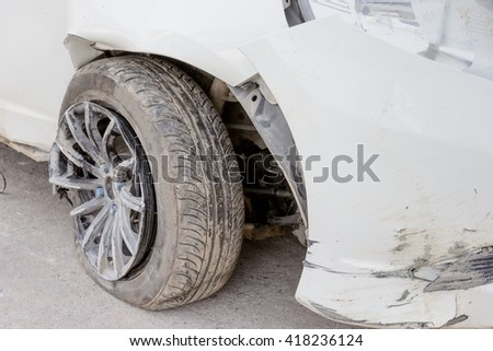 tyre and wheel torn