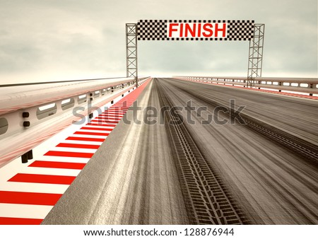tyre drift on race circuit finish line illustration - stock photo