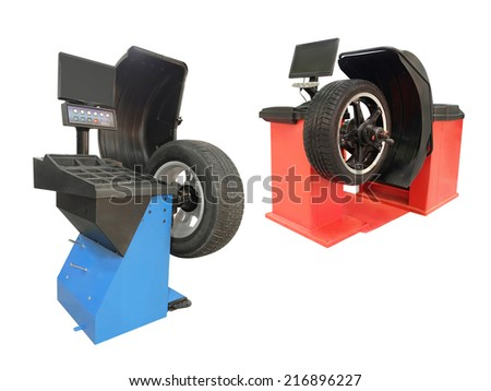 tyre fitting machines under the white background