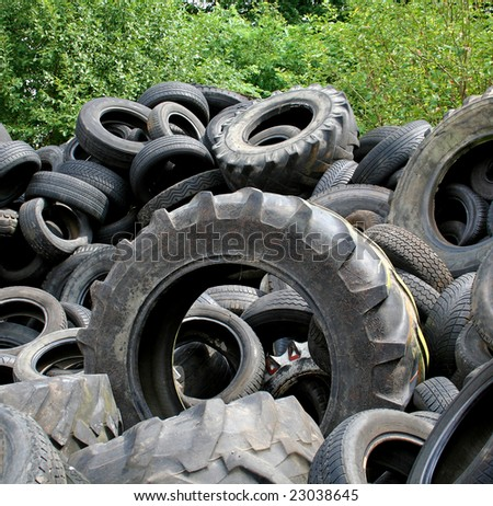 tyre heap in recycling plant in Germany