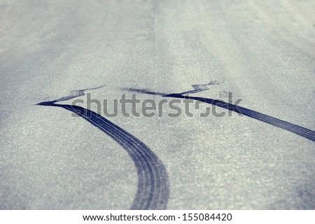 Tyre marks - stock photo
