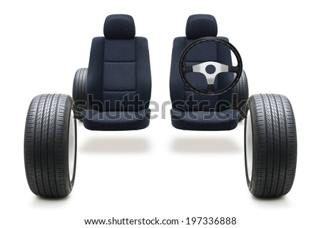 tyre seat and steering wheel - stock photo
