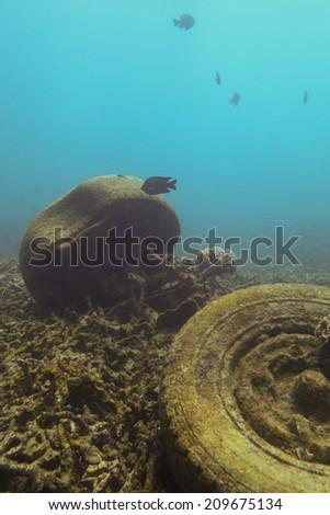 Tyre underwater - stock photo