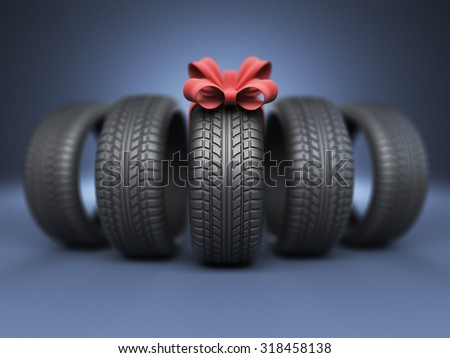 Tyre with a red ribbon. Gift. 3D Icon isolated on blue background - stock photo