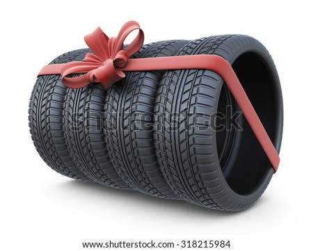 Tyre with a red ribbon. Gift. 3D Icon isolated on white background - stock photo