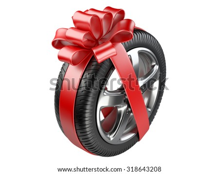 tyre with a wrapped red ribbon. 3D illustration  isolated on white background. - stock photo