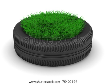 tyre with grass on white background. Isolated 3D image - stock photo