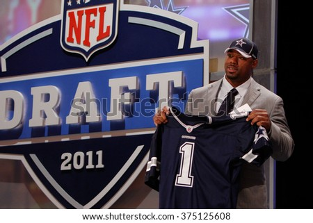 Tyron Smith is introduced as the ninth pick to the Dallas Cowboys at the NFL Draft 2011 at Radio City Music Hall in New York, NY. - stock photo