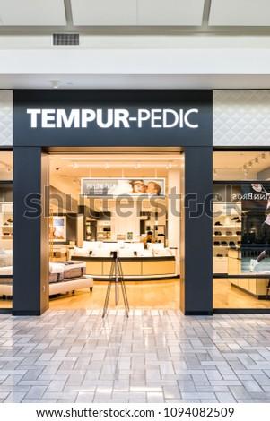 tempur pedic store. Tysons, USA - January 26, 2018: Tempur-pedic Store Sign Entrance Retail Tempur Pedic R