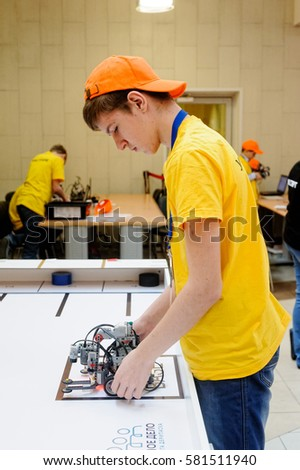 Tyumen, Russia - February 17, 2017: Open championship of professional skill among youth World skills Russia Tyumen - 2017. Competitions of robots among school students