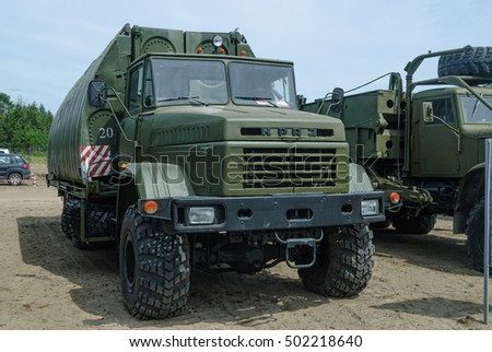 Tyumen, Russia - June 11, 2016: Race of Heroes project on the ground of the highest military and engineering school. Pontoon equipage PP-91 (River link) on the basis of KRAZ