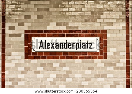 U-bahn (subway) station Alexanderplatz in Berlin. The U-bahn serves 170 stations spread across ten lines with a total track length of 151.7 km. - stock photo