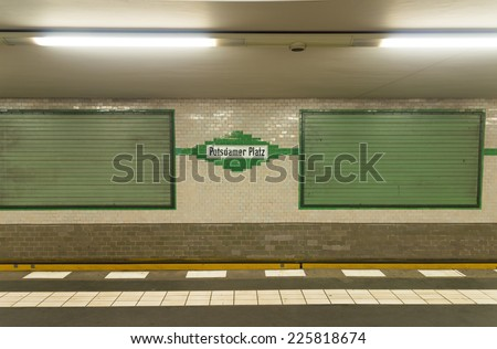 U-bahn (subway) station Potzdamer Platz in Berlin. The U-bahn serves 170 stations spread across ten lines with a total track length of 151.7 km. - stock photo
