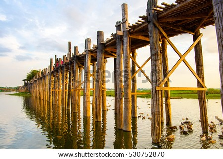 U Bein Bridge over the Taungthaman Lake, the oldest and longest teakwood bridge in the world