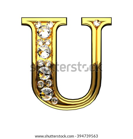 u isolated golden letters with diamonds on white