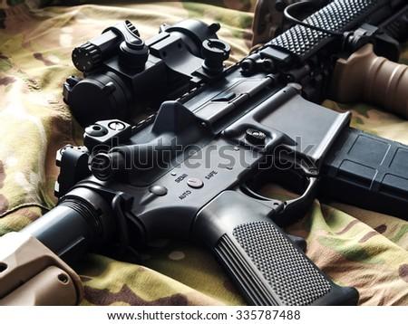 U.S. Army M4 rifle - stock photo