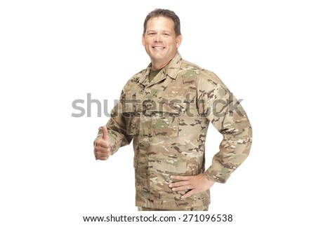 U.S. Army Soldier, Sergeant. Isolated. Happy with thumbs up. - stock photo