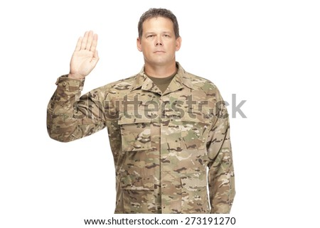 U.S. Army Soldier, Sergeant. Isolated. Oath of Enlistment. - stock photo