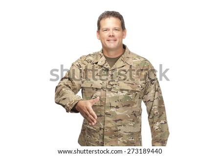 U.S. Army Soldier, Sergeant, shaking hand at job interview on white background. - stock photo