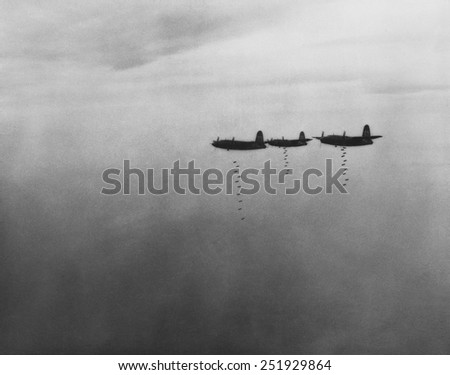 U.S. B-26 medium bombers dropped bombs on ports, bridges, and railroad yards in central Italy. They destroyed German supply lines and diminished their resistance to Allied advances toward Rome. Mar. - stock photo