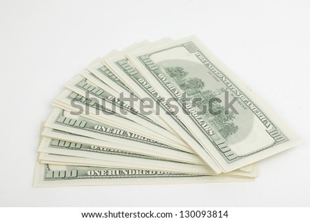 U.S. banknotes of one hundred dollars on finance theme