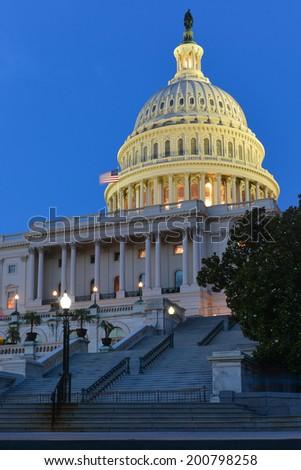 U.S. Capitol at night - Washington D.C. United States - stock photo