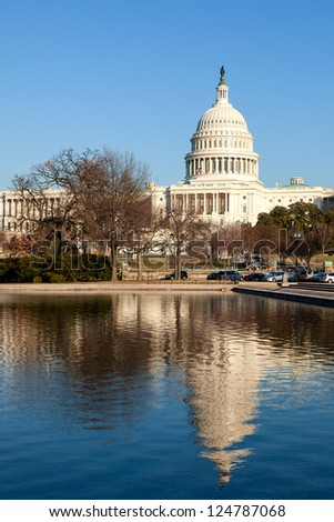 U.S. Capitol Rear Face and Reflecting Pool in Winter Afternoon Sunshine - stock photo