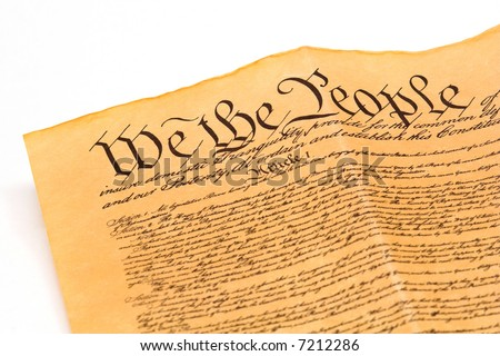 U.S. Constitution - detail on white background - stock photo