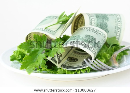 U.S. currency dollars on a plate -  salad cash