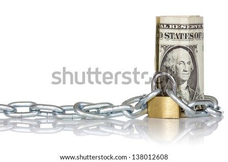 U.S. dollar banknote with lock and chain. Money concept for safety and investment. - stock photo