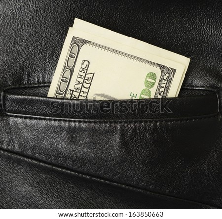 U.S. dollars in the back leather pocket