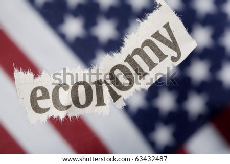 "U.S. economic recession concept with selective focus on the ""e"" in economy."