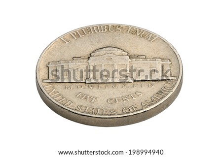 U.S. five cents coin isolated on white background. macro shooting.