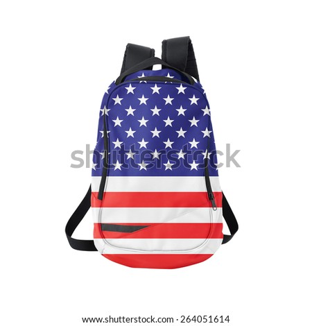U.S. flag backpack isolated on white background. Back to school concept. Education and study abroad. Travel and tourism in USA - stock photo