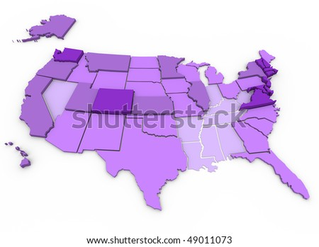 U.S. Map showing percent of citizens 25 years and older with bachelor's degree or higher education. Dark purple is high (+ 27.5 percent), lightest purple is low (- 20 percent)  --  US Census Data