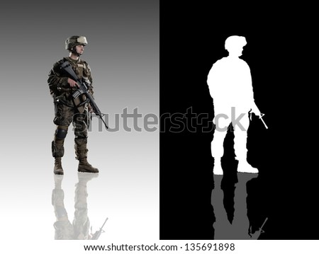 U.S. military marine. soldier. Studio shooting. Turn right. with reflections. isolated. With alpha channel. - stock photo