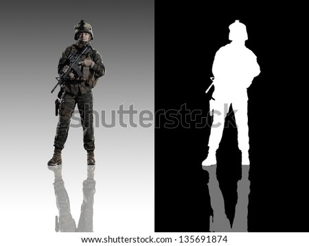 U.S. military marine. soldier. woman in the army Studio shooting.frontal pose with reflections.  With alpha channel. - stock photo