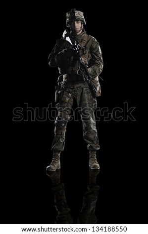 U.S. military marine. Studio shooting. frontal pose. with reflections. With alpha channel - in my gallery - stock photo