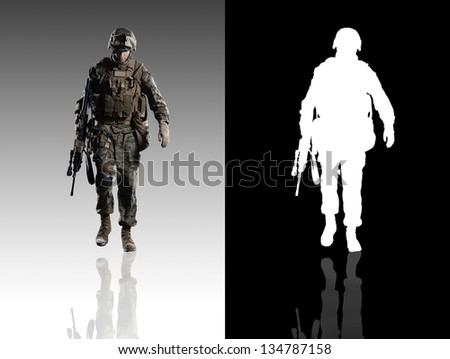 U.S. military marine. Studio shooting. With alpha channel. frontal pose. going. with reflections. isolated. - stock photo