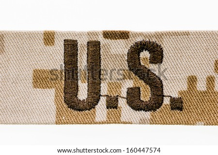 U.S. military patch - closeup isolated on white - stock photo