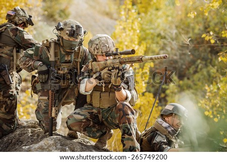 U.S. Rangers team preparing to attack the enemy