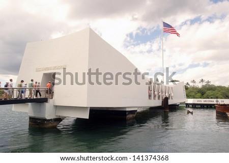U.S.S. Arizona Memorial in Pearl Harbor. - stock photo