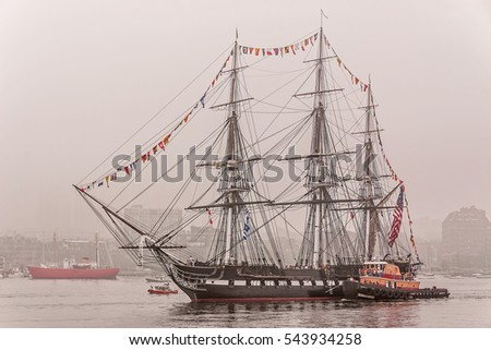 "U.S.S. Constitution ""Old Ironsides"" sailing in fog, Boston, Massachusetts"