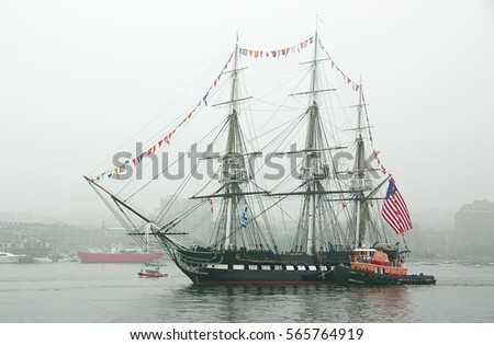uss constitution old ironsides sailing fog stock photo royalty free