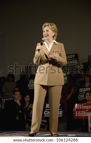 U.S. Senator, Former First Lady and Presidential Candidate, Hillary Clinton, speaking at rally after Iowa Democratic Presidential Debate, Drake University, Des Moines, Iowa, August 19, 2007 - stock photo