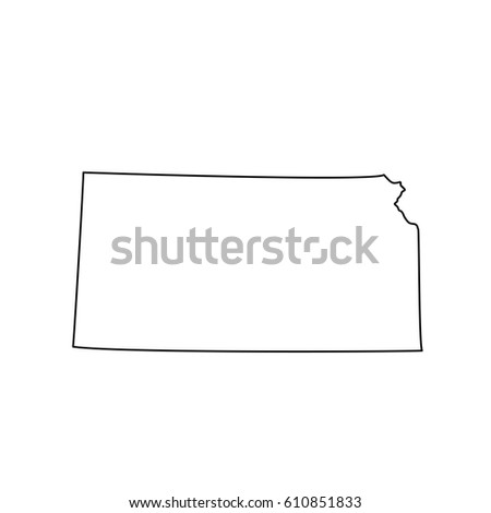U S State Kansas Black Map On White Background