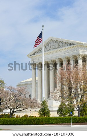 U.S. Supreme Court in Spring - Washington DC, United States of America - stock photo
