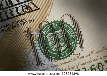 U.S. Treasury Seal on 100 dollar bill extreme macro - stock photo