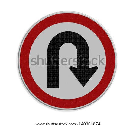 U - Tune right traffic sign on white background - stock photo