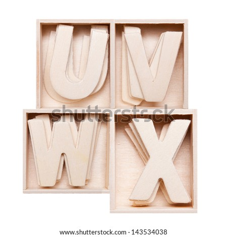 U,V,W,Z wood alphabet in block - stock photo